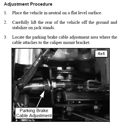 Parking Brake Adjustment